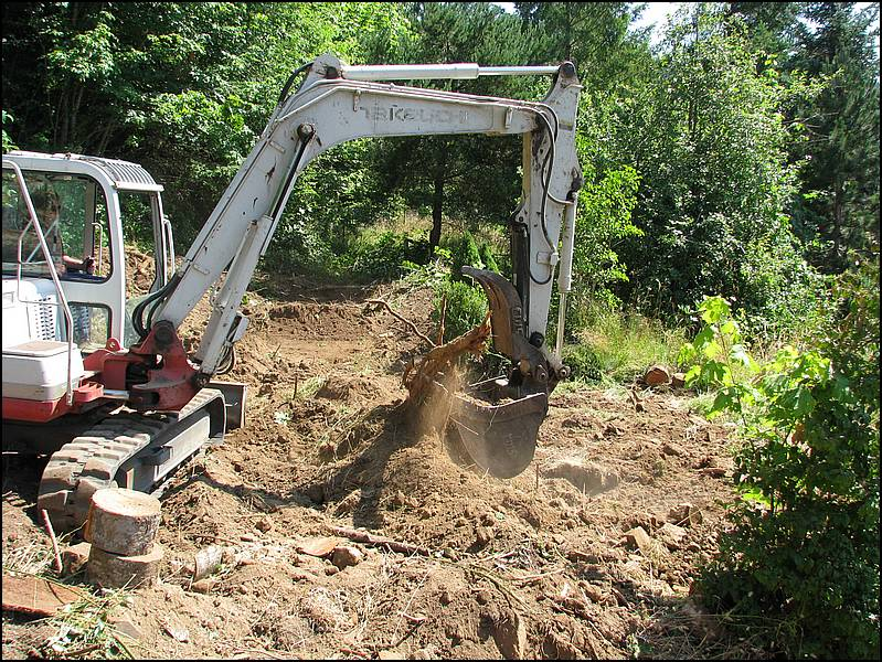 Stump removal for a building site